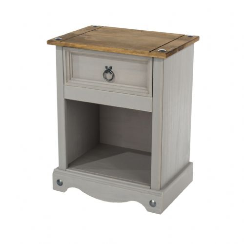 Premium Corona Grey Wash 1 Drawer Open Bedside